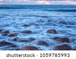 atlantic shore with waves and... | Shutterstock . vector #1059785993
