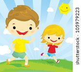 happy boy and girl running in... | Shutterstock .eps vector #105979223