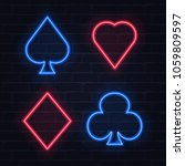 set of neon playing card... | Shutterstock .eps vector #1059809597