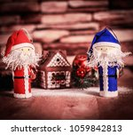 two funny santa claus on the... | Shutterstock . vector #1059842813