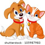 Stock vector illustration of best friends ever cat and dog 105987983