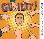 guilty  hands point to the... | Shutterstock .eps vector #1059879923