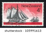 Small photo of NEW ZEALAND - CIRCA 1975: stamp printed by New Zealand, sh Historic Sailing Ship, Scow Lake Erie, circa 1975