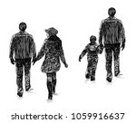 sketch of the city dwellers on... | Shutterstock . vector #1059916637
