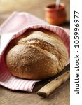 rustic,homemade,fresh wholegrain bread - stock photo