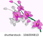 vector stylized pink orchid | Shutterstock .eps vector #106004813