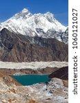 Small photo of View of Everest, Lhotse, Ngozumba glacier and Gokyo Lake from Renjo La pass - way to Everest Base Camp, Three passes trek, Khumbu valley, Sagarmatha national park, Nepal