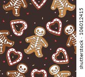 Gingerbread seamless pattern for halloween design - stock vector