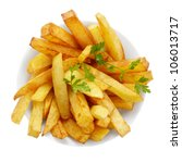 Dish With French Fries Isolate...