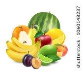 juicy sweet fruits. 3d... | Shutterstock .eps vector #1060148237