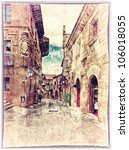 vintage style postcard of traditional architectural complex in Barcelona, Spain - stock photo