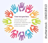 colorful hands with symbolic... | Shutterstock .eps vector #106018313