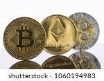 gold bitcoin  etherium and... | Shutterstock . vector #1060194983