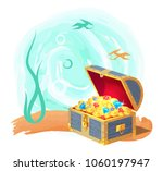 mysterious chest of treasures... | Shutterstock .eps vector #1060197947