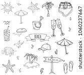 hand drawn doodle beach set... | Shutterstock .eps vector #1060237667
