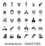 black symbols danger icons. eps ... | Shutterstock . vector #106027283