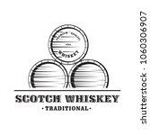 wooden whiskey barrel. hand... | Shutterstock .eps vector #1060306907
