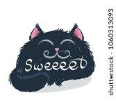 cute monster kitten with text.... | Shutterstock . vector #1060313093