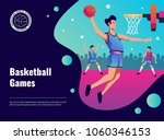 Vector illustration on sport theme with basketball games headline and sportsman throwing ball into basket flat image
