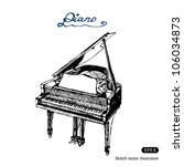 grand piano. hand drawn sketch...