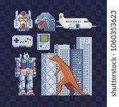 japan pixel art icons set part... | Shutterstock .eps vector #1060353623