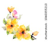 yellow flowers. watercolor... | Shutterstock . vector #1060355213