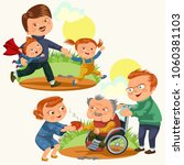 set happy fathers day greeting... | Shutterstock . vector #1060381103