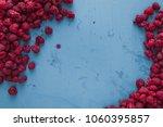 delicious fresh raspberries on...   Shutterstock . vector #1060395857