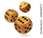 photo of three wooden dices... | Shutterstock . vector #106040477