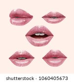 nude sensual juicy lips...   Shutterstock .eps vector #1060405673