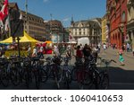 Small photo of BASEL, SWITZERLAND - JUNE 04 2017: Swiss city Basel in the summer. Architecture. of 14th century town hall, the Rathaus. The seat of the government of the Canton of Basel-City and at the same time.