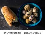 piece of baguette and quail... | Shutterstock . vector #1060464833