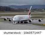 Small photo of Zurich Switzerland International Airport - April 01, 2018: Airbus A380-800 airliner of Emirates Airline on the runway