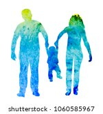 silhouette watercolor family | Shutterstock .eps vector #1060585967