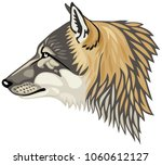 wolf head profile  the gray... | Shutterstock .eps vector #1060612127