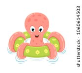 pink octopus on green... | Shutterstock .eps vector #1060614503