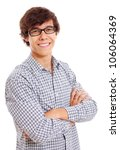 Portrait of successful latin young man in black glasses. Isolated on white background, mask included - stock photo