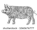 zentangle illustration with pig.... | Shutterstock .eps vector #1060676777