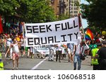 NEW YORK CITY - 24 JUNE 2012: Greenwich Village's annual gay pride parade & festival commemorates the anniversary of the Stonewall Riots on 25 June 2012 in New York City - stock photo