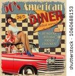 american diner vintage poster...   Shutterstock .eps vector #1060688153