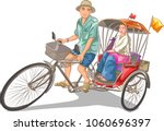 riding a tricycle | Shutterstock .eps vector #1060696397