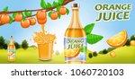 glass bottle and fruits. orange ... | Shutterstock .eps vector #1060720103