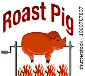 an image of a roasted pig on a...   Shutterstock .eps vector #1060787837