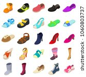 shoes fashion types icons set....