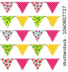 vector set of bunting with... | Shutterstock .eps vector #1060807727