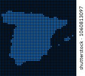 dotted pixelated spain map.... | Shutterstock .eps vector #1060813097