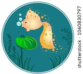 goldfish and seaweed on the... | Shutterstock .eps vector #1060830797