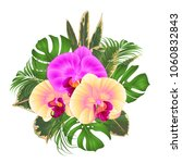 bouquet with tropical flowers ... | Shutterstock .eps vector #1060832843