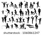 collection of father and kids... | Shutterstock .eps vector #1060861247