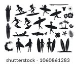 surfers silhouettes set. men... | Shutterstock .eps vector #1060861283
